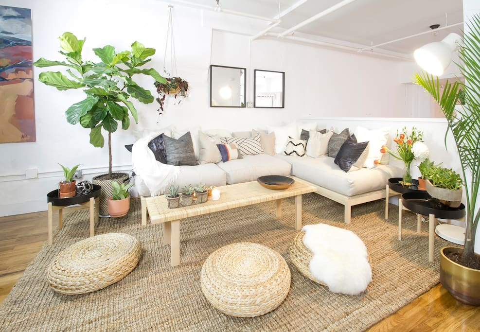 Cozy, laid back seating area accommodates large groups after a day out and about in the city!