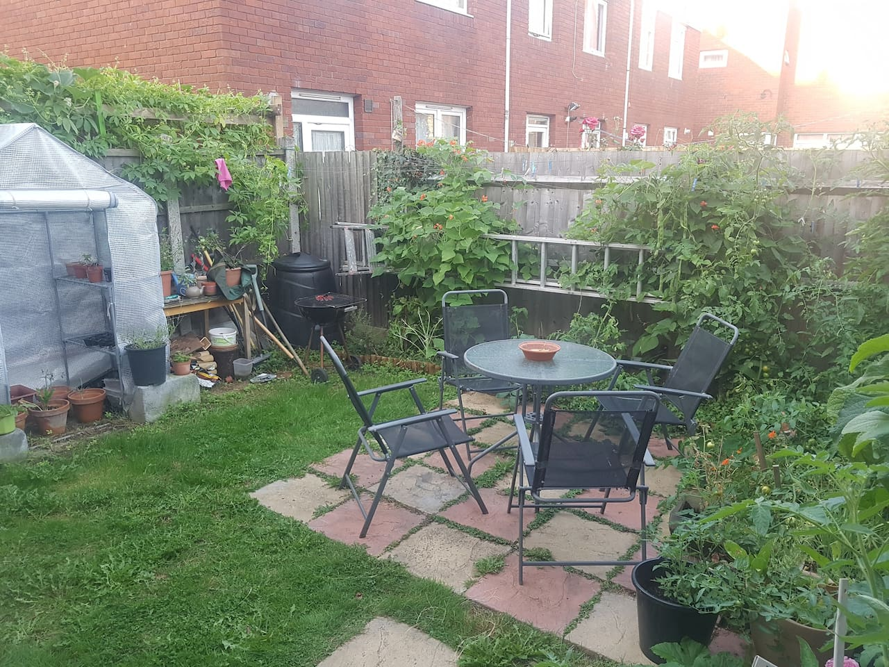 Garden - lots of vegetable growing in the spring, summer and autumn; occasional bbqs; al fresco dining when the sun allows!