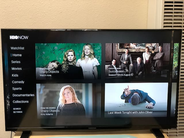 My TV does not have traditional cable, but is equipped with an Amazon Firestick which gives you access to my HBO, Showtime, Hulu, Netflix, Amazon Prime Video, YouTube Red, and other video accounts. You can also rent movies on demand. Just send me a message what you want to watch! I also have a Chromecast device which will allow you to mirror your content from your smart phone to the TV.