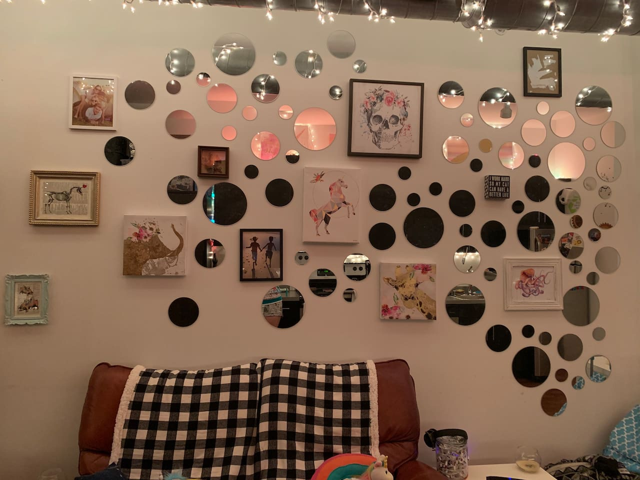 Working on my feature wall. Original art, mirrors, and inspiration ;)