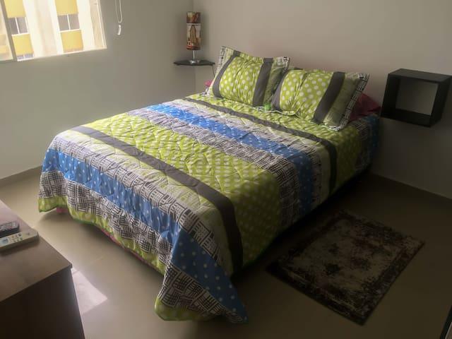 Habitación con aire acondicionado, cama matrimonial, guarda ropa y TV con cable.