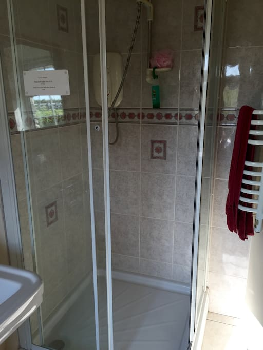 Shower unit in bathroom