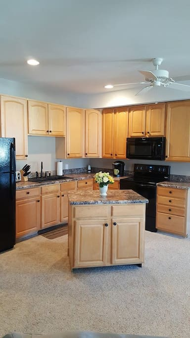 Full kitchen with stove, microwave and full size refrigerator