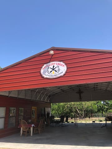 The alpaca barn and guest area.