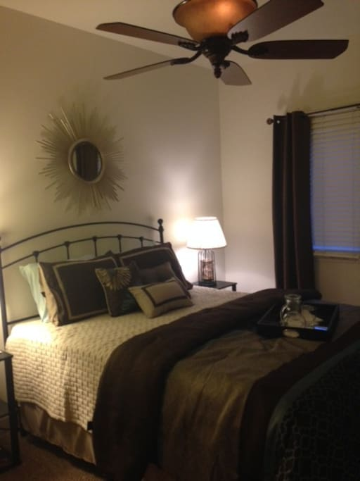 Your comfy brand new queen bed with a memory foam top!