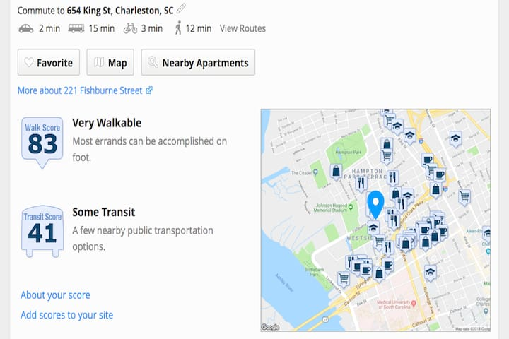 Walk Score of 83 means most things are within walking distance and with a bike station and with FREE Shuttle pickup right on the corner everything is within distance!!  See the Trolley picture and Carta website for hours.