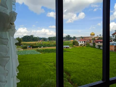 Private Room with amazing view of Mount Singgalang