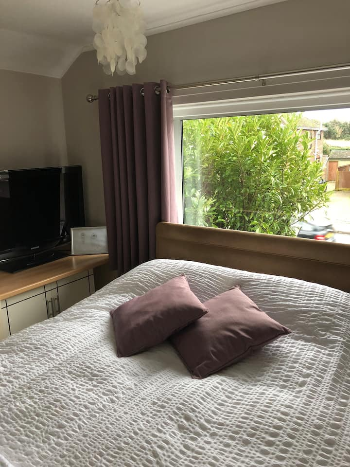 Large double bedroom. Spacious new bathroom.