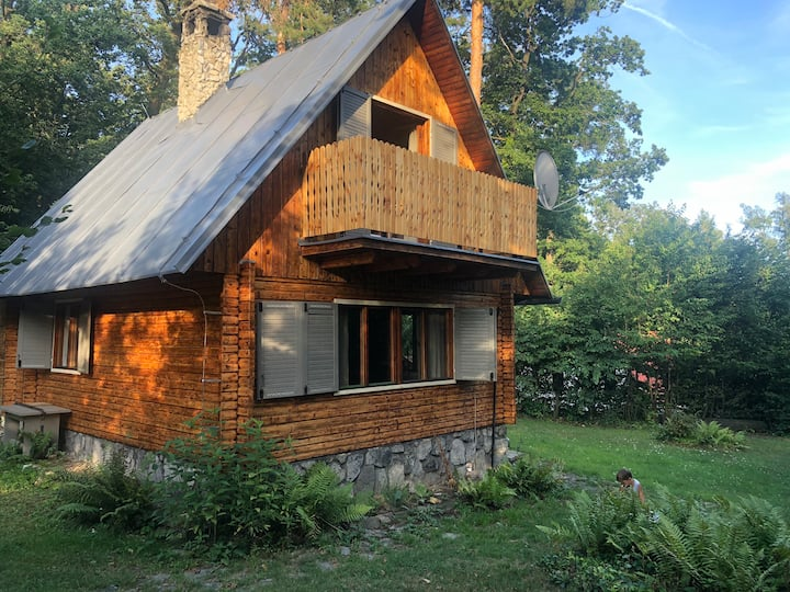 Wooden house in the nature