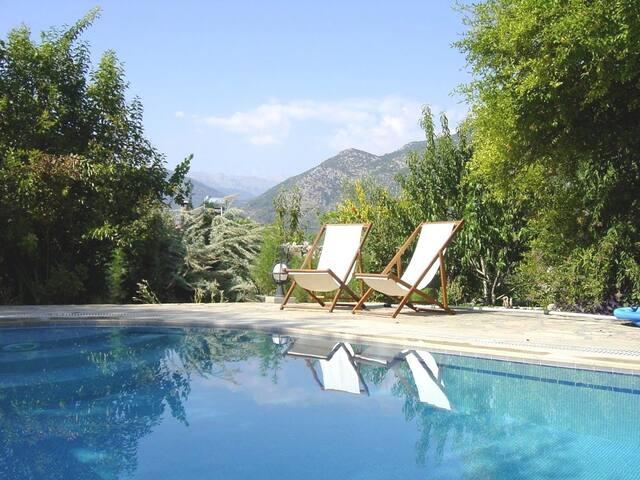 Geniş bahçeli, havuzlu ve teraslı tüm villa