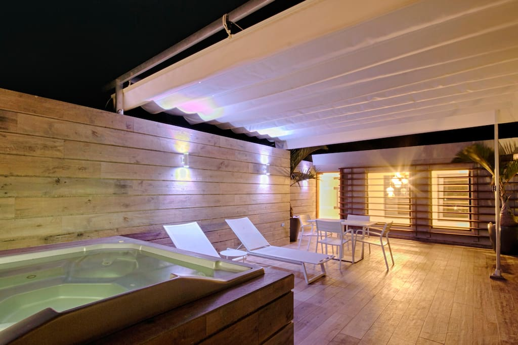 Penthouse rooftop terrace with jacuzzi