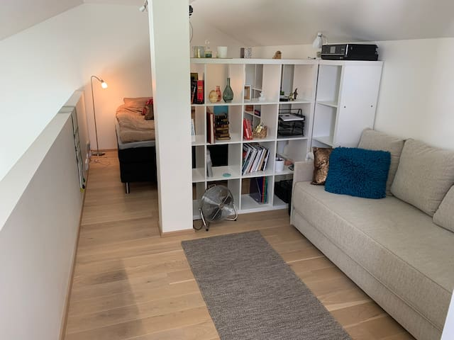 Loft/attic: Double bed and a sofa bed that can be converted into a double bed. There will then be four beds in the attic