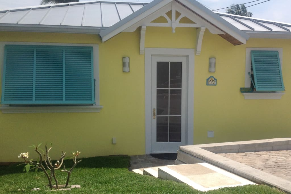 Front of Pool House. Private quarters and entrance. Parking area in front of door.