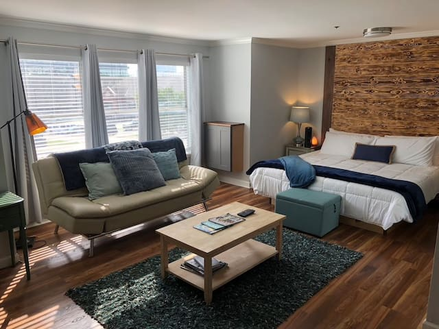 OPEN FLOOR PLAN - (Can Sleep up to 4)  Sleeper couch folds out to accommodate two people.    Sheets, pillows, blankets are provided.