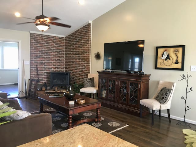 Living room with cozy fireplace, large smart TV, BluRay/DVD player with load of movies, and Crate & Barrel sofa bed. Books in media cabinet to enjoy.