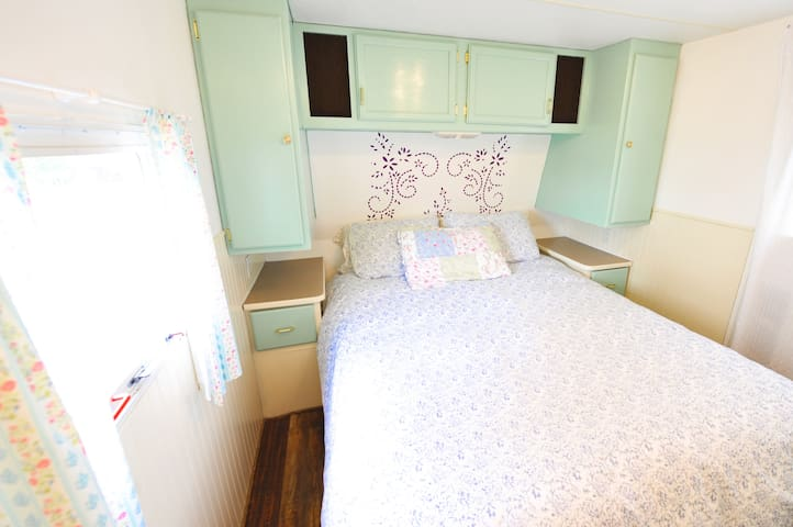 Your bedroom with cozy queen size bed (we provide sheets and towels)