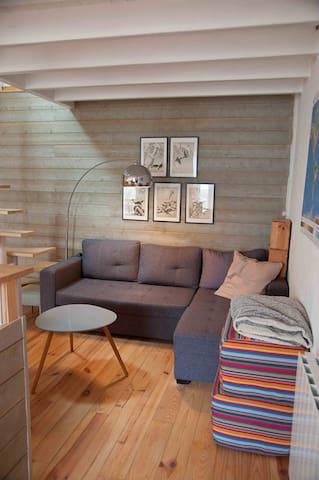 Petit salon avec canapé-lit, télé et dvd