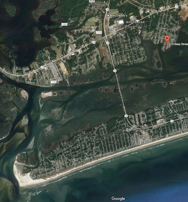 Arial view of Emerald Island.  The house is in a great location for boating or beach.
