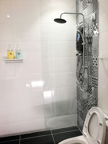 Wet yourself with the Rain Water Shower with heater.