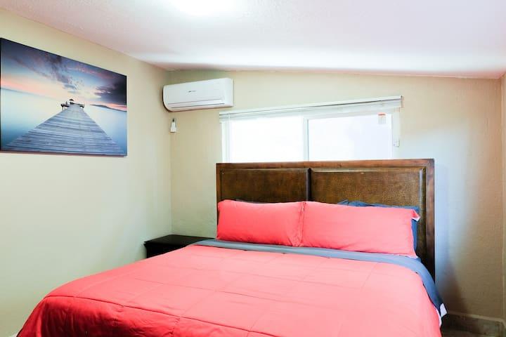 Master bedroom #5-Cal King pillow top mattress w/ full bathroom. Mini split AC/Heater.