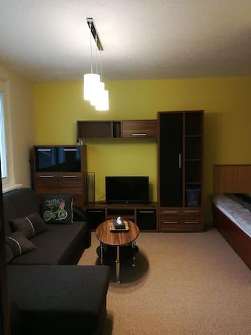 Posteľ s pamäťovou penou pre pohodlný spánok. Extra gauč pre 2 ďalších hostí.  Bed with memory foam for better sleep. Extra sofa for 2 more guests.