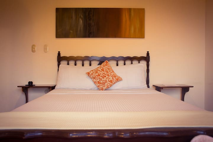Queen size bed, with all the amenities available. set of sheets, towels, soap, champoo and body cream included in the rate.