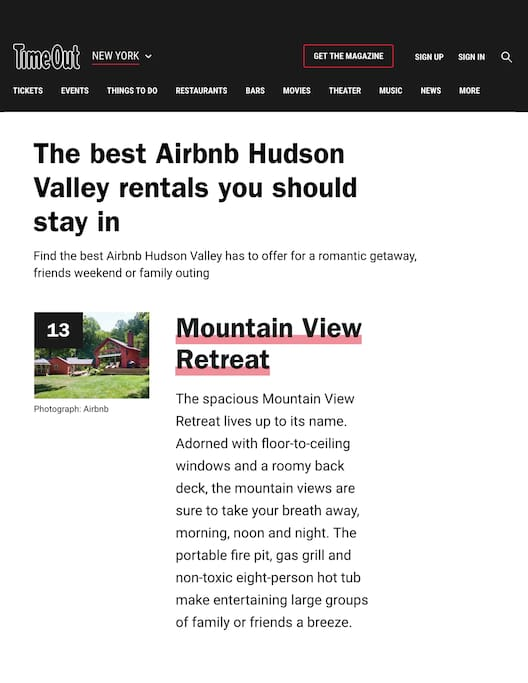 Featured in Time Out top 15 Airbnb rentals in the Hudson Valley