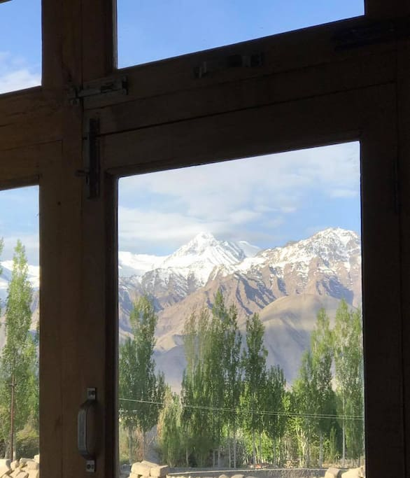 The view of Stok Kangri right from the bed in the room