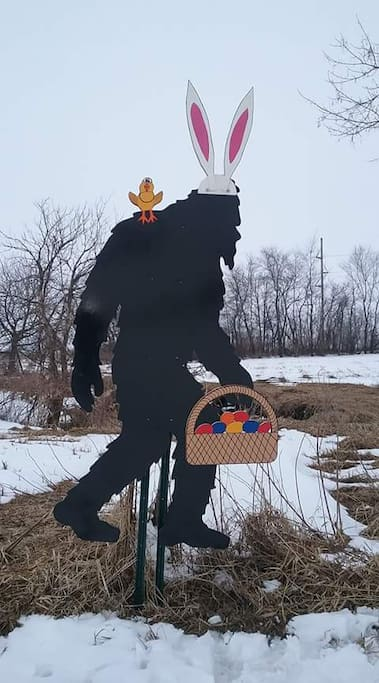 our resident Bigfoot that changes his decor seasonally-great photo op!