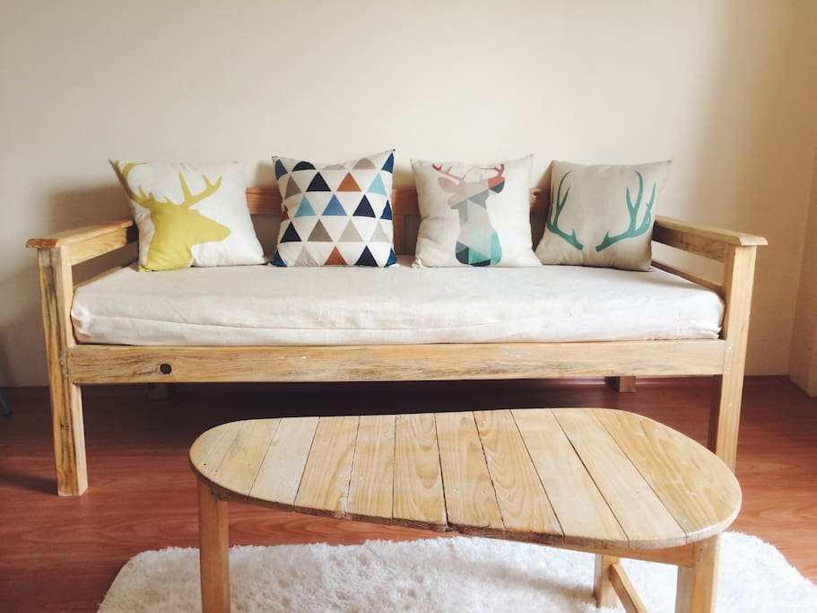 The sofa bed in the living room 明亮的客厅有张沙发床