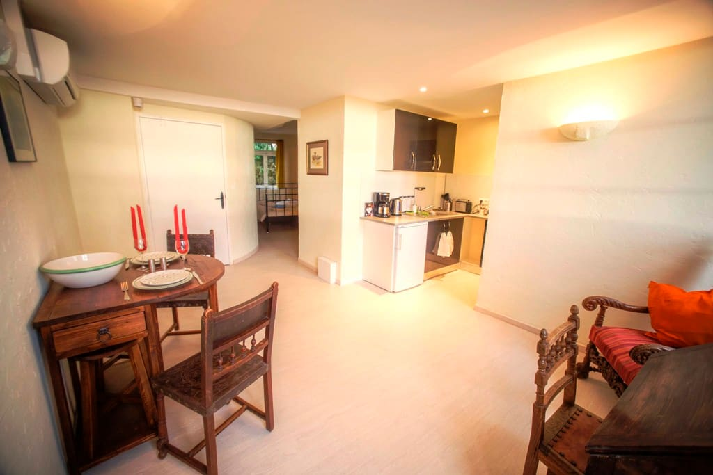 Studio Einstein: Wohnzimmer mit Blick auf Küche und Richtung Schlafzimmer