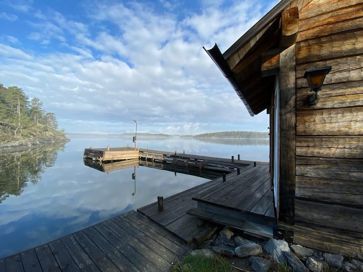 Seaside timber cottage in the archipelago