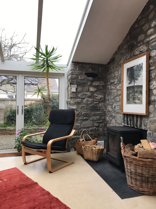 Sitting room with woodburner