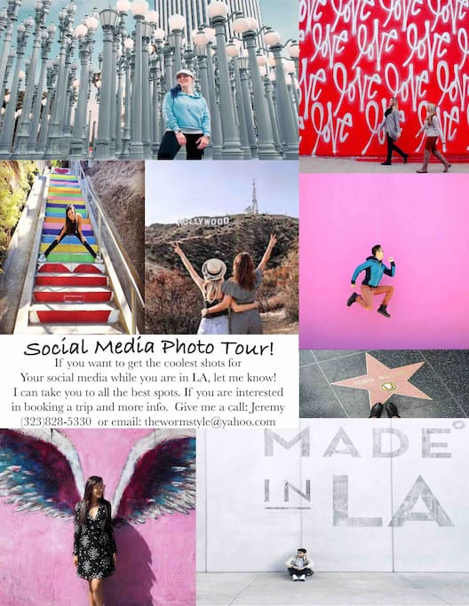 I offer a Social Media photo tour to all of the coolest spots in LA. If you are interested in booking or for more information, please call (323)828-5330 or email thewormstyle@yahoo.com