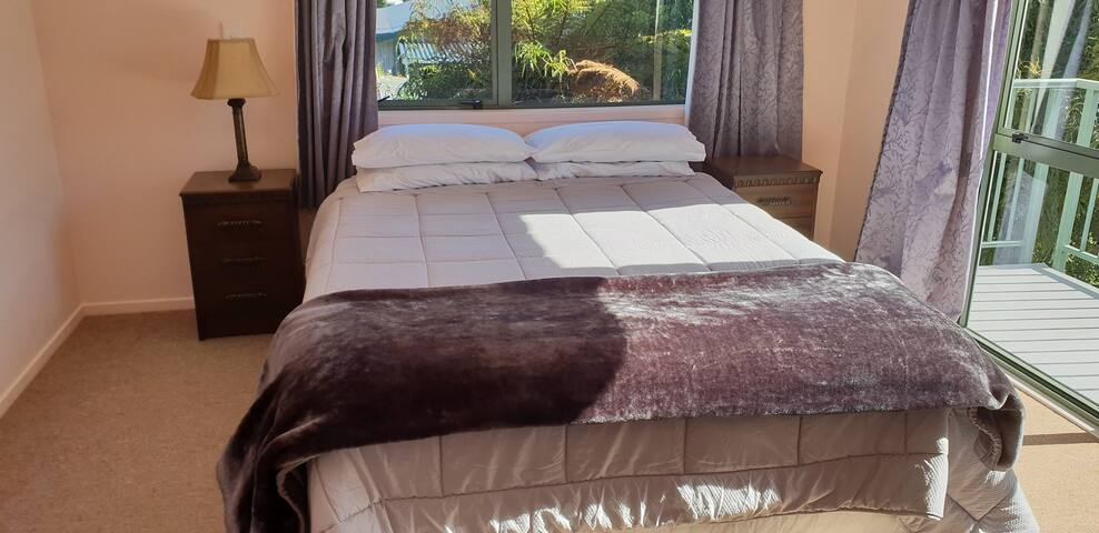 Comfortable bed with its own balcony and electric blanket