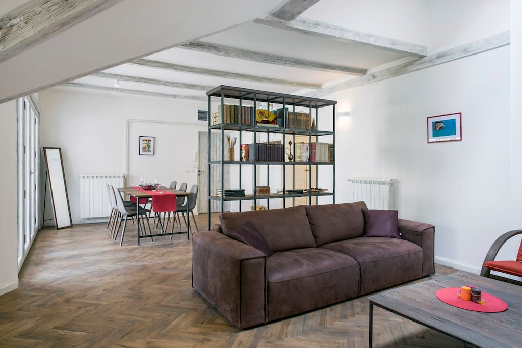 Cosy living room and dining room with powerful inverter air conditioner.