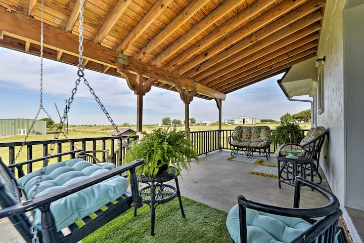 Kick back on the covered porch and relax.