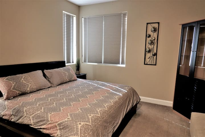 Your room:  King size memory foam bed makes this a quiet and cozy escape.