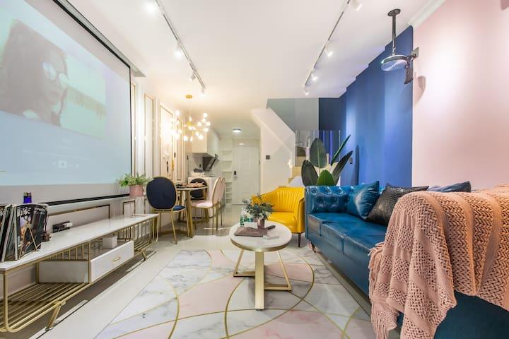 【HOSTAY·蓝粉】loft电影房♥太空椅丨两居丨会展中心/购物公园/福田口岸