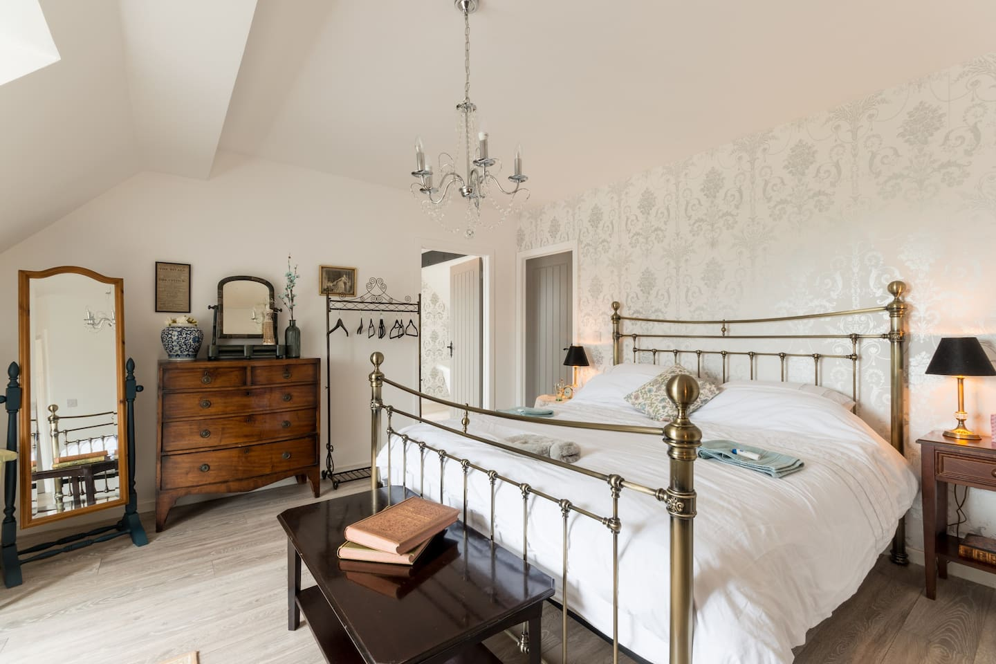 Another view of the Elegant Master Bedroom showing the doorway into the adjoining luxury Ensuite Bathroom (lots of privacy!). Plenty of clothes storage and space for laying out luggage