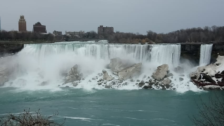 The American Falls during the winter months