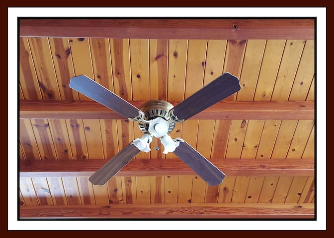 Wooden ceiling with ceiling fan.