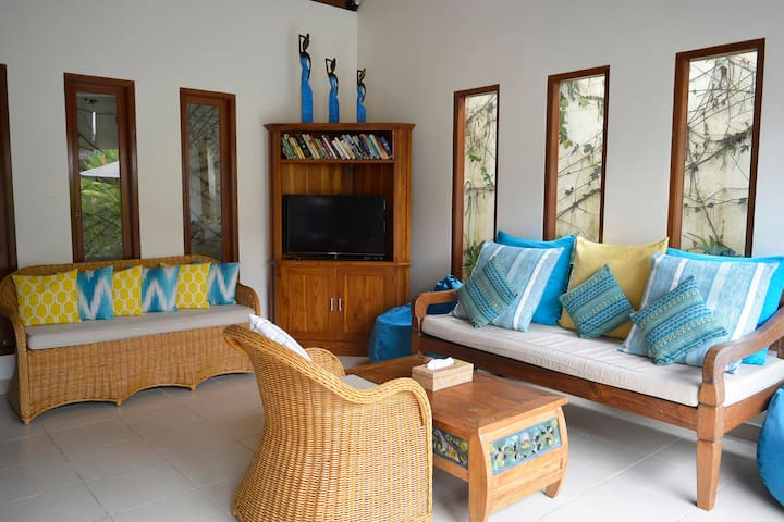 The furniture is comfortable. Sit or lie and watch TV, cable, a DVD or read a book.