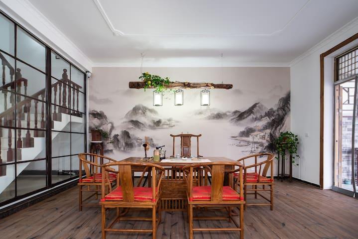 花果山新中式风格5居别墅家庭出游盛唐山居近渔湾海上云台山连岛整租