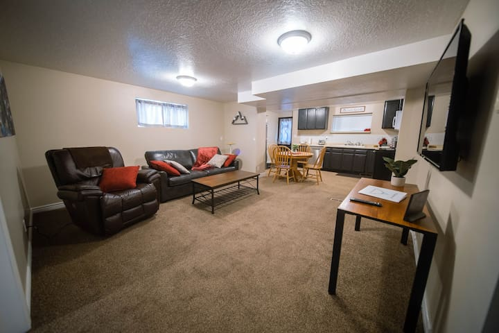 Comfortable living area with Queen size sofa bed, kitchen with private entrance