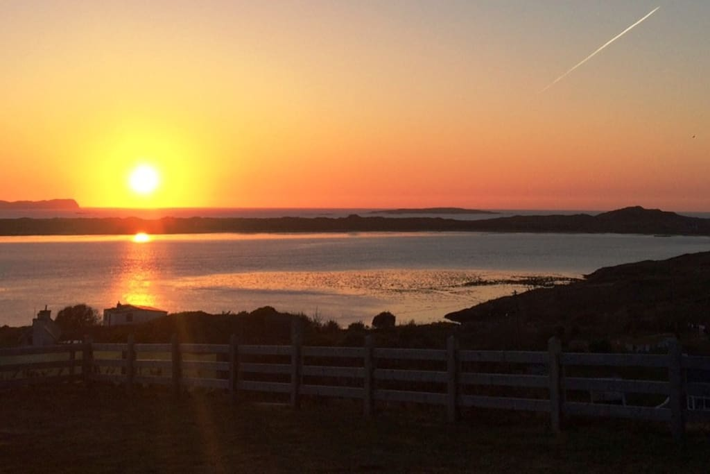 The sunset view over Owey Island from the back of my house