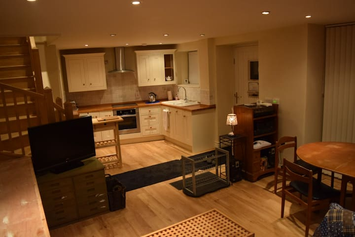 shared kitchen and dining area; toilet in cupboard under the stairs