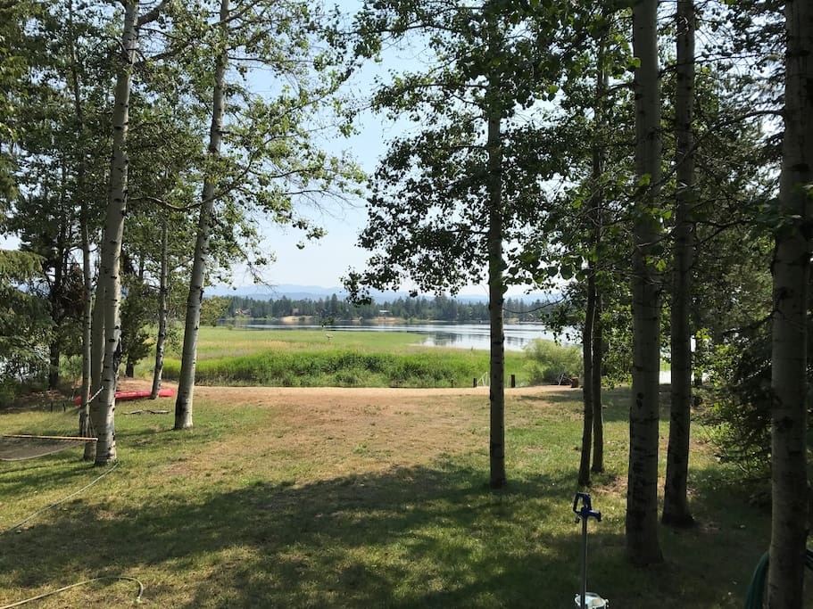 View from cabin deck...water levels fluctuate. Water recedes towards end of summer but always a pretty view!