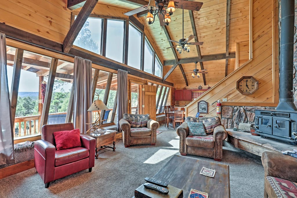 Marvel at the mountain views through the floor-to-ceiling windows.