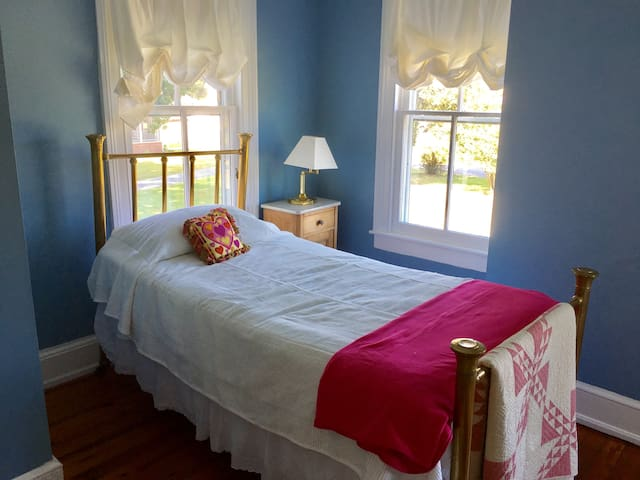 Upstairs Blue Bedroom with Twin Bed